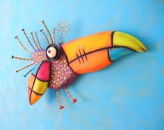 Toucan Baby, MADE to ORDER, Found Object Wall Sculpture, Wood Carving, Wall Decor, Animal Sculpture, Bird Sculpture, by Fig Jam Studio