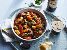 This hearty beef stew is made with lean boneless chuck that's cooked with carrots, parsnips and turnips and flavored with dark beer....