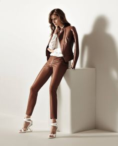 Porsche Design Spring/Summer'15 Fashion collection. Motocross Jacket, Pleat Detail Blouse and Leather Stretch Pants.