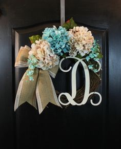 Burlap Wreath Hydrangea Door wreaths Burlap wreath Hydrangea Sspring wreath for Summer wreaths for door - Wreaths Grapevine wreath