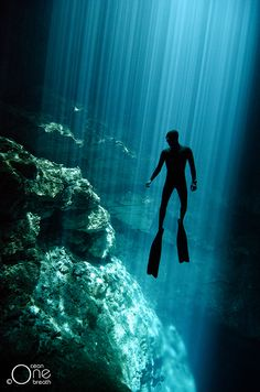 ... The Phantom ...  Freediving the Cenotes of the Yucatan Peninsula, Mexico. Photo taken on one breath by Christina Saenz de Santamaria.