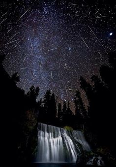 Meteor shower, McCloud Falls in Northern California