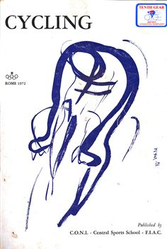 Ottorino Mancioli's sinuous front cover illustration for the 1972 book, Cycling.