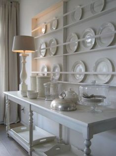 Shallow plate storage for a big, statement wall. Same idea for use as picture l. Shallow plate storage for a big, statement wall. Same idea for use as picture ledges. Plate Rack Wall, Plate Shelves, Plate Storage, Display Shelves, Plates On Wall, Plate Display, Plate Racks In Kitchen, Display Ideas, Cocina Shabby Chic