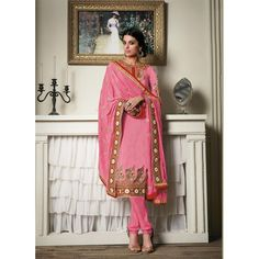 Georgette Pink Salwar Suit Dress Material - 36212