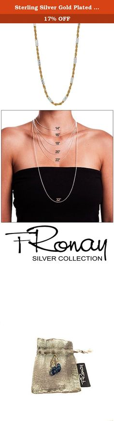 """Sterling Silver Gold Plated Italian Diamond Cut Rope Chain Necklace, 40"""". Our Iconic Designs are a celebration of the women who wear them and an embodiment of the rich legacy and effortless elegance of the Fronay Collection. Style is about character, a way of looking at things, and a handful of carefully designed pieces of jewelry. Enlist your energy, creativity and character with our designer pieces."""