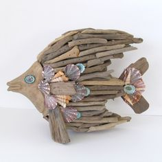 Driftwood Sculpture Fish Angelfish Shells