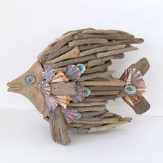 Driftwood Sculpture Fish Angelfish Shells