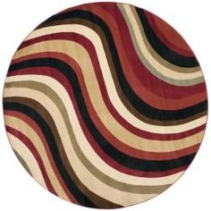Porcello Waves Red/ Multi Rug (7' Round)