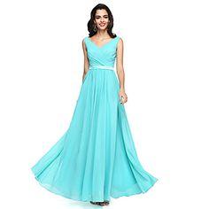 LAN+TING+BRIDE+Floor-length+V-neck+Bridesmaid+Dress+-+Open+Back+Sleeveless+Chiffon+–+USD+$+80.99