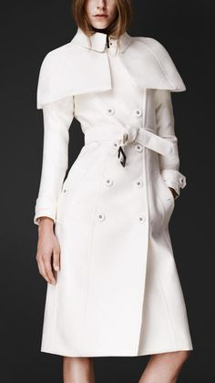 The infamous Olivia Pope White Trench Coat from Scandal~I need this coat in my Life~Burberry Double Duchess Caped Trench Coat