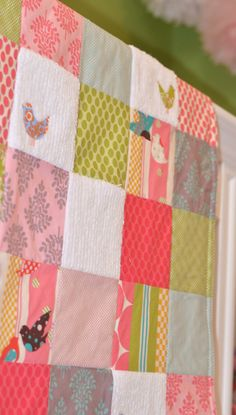 so pretty  Baby Blanket Large Patchwork Girl's Baby Blanket / Quilt - Little Birds, It's a Hoot Fabrics, Chenille and Flannel. $98.00, via Etsy.