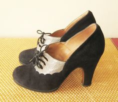 """vintage lace up bombshell pumps high heels black suede shoes US size 5 or 5.5 insole 8 7/8"""" 1930s style 70s 1970s. €69.00, via Etsy."""