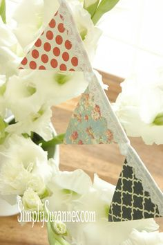 A good way to use up fun fabric scraps! Iron to bunting - no sewing necessary