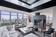 This exclusive 5,000 square foot duplex penthouse is located in the 40 story Park Laurel condominium, a residential skyscraper built in 2000 and designed by Beyer Blinder Belle and Costas Kondylis