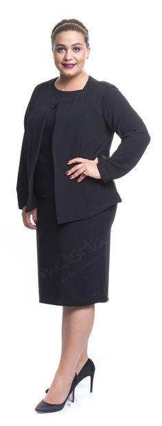 5ad44ff6222c7 modagld Bayan Büyük Beden Kol Tül Detaylı Fermuarlı Siyah Ceket ...
