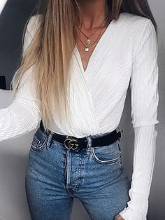 abd8e0f809 Shop White V-neck Ruched Detail Long Sleeve Women Bodysuit from choies.com .