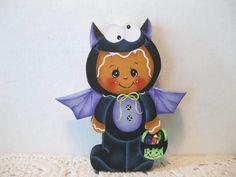 HP Gingerbread Halloween Bat SHELF SITTER hand painted USA