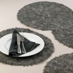 Guinea Feather Round Placemat #relishthis