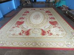 12' X1 8' Magnificent Handmade French Aubusson Savanery Red Needlepoint  Rug