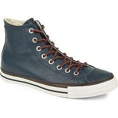 "CONVERSE ""clean crafted"" high tops in chocolate and navy leather"