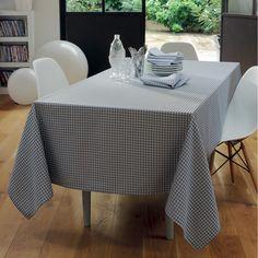 Nappe style contemporain Garnier-Thiebaut - Modèle : Illusion - Nappe en coton anti-tache - Coloris : gris