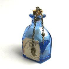 Blue Mermaid Tears Glass Apothecary Flask by MermaidTearsSeaglass, $12.99