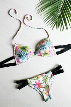 maillot de bain calzedonia fleurs tropicales et bandage