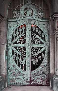 "Love the architectural detail on the Cast Iron ""Dragon Motif Doors,"" Art Nouveau, Budapest, Hungary. Cool Doors, Unique Doors, Art Nouveau, Entrance Doors, Doorway, Front Doors, House Entrance, Doors Galore, Porte Cochere"