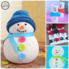 Best list of 10 Cute Snowman Crafts for kids. Most are quick and easy and use supplies you have on hand. They snowmen make great DIY gifts.