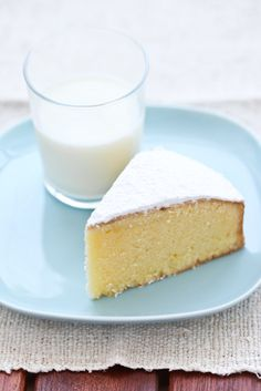 vanilla cake and a glass of milk