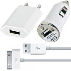 Автомобильное и сетевое зарядное устройство и USB кабель для iPhone 4s/ iPhone 4/ 3G/ 3Gs/ 2G/ iPod 3 в 1 купить в интернет-магазине BeautyApple.ru.