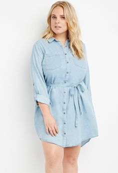Belted Chambray Shirt Dress | Forever 21 PLUS - 2000178840