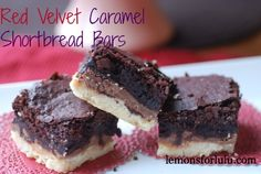 Red Velvet Caramel Shortbread Bars | lemonsforlulu.com