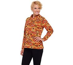 Denim & Co. Printed French Terry Shawl Collar Long Sleeve Top