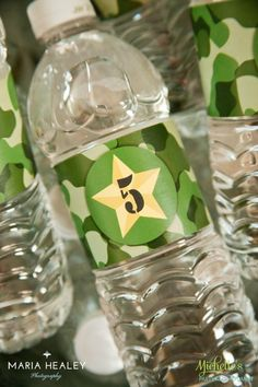 Set of 20 Water Bottle wrappers labels by PartyPlanItDesigns Army Themed Birthday, Army Birthday Parties, Army's Birthday, Birthday Ideas, Military Party, Army Party, Nerf Party, Soldier Party, Kids Army