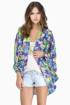Floral Print Batwing Sleeves Loose Kimono
