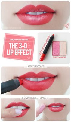 Get 3D Lip Effect with Pale Frosted Eyeshadow. Use pale frosted eyeshadow to get fuller, 3D lips.