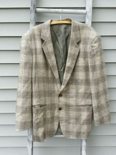 Mens two button wool   jacket sz 44 blazer made in Italy size Euc 50.  #Handmade #TwoButton