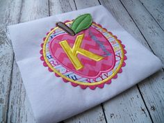 KINDERGARTEN APPLE PATCH machine embroidery by EastCoastApplique