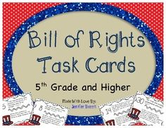Spark amazing discussions with these Bill of Rights Task Cards! What are Task Cards? Task cards are a great resource for teachers! Don't assign a worksheet with 30 questions… break the assignment into task cards! Students may work on one task or a few tasks at a time.