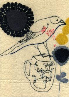 Maxine Sutton 'Sad Bird' textile art work