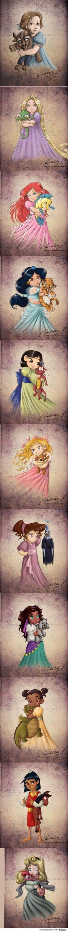 Disney; Belle, Rapunzal, Ariel, Jasmin, Mulan, Aurora, Meg, Esmerelda, Tiana, Kuzco, Cinderella  This is cute, but I find it amusing that all of them are girls cept for one >.>