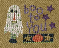 Garden Grumbles and Cross Stitch Fumbles: From the Cross Stitch Archvies - Ghost & Pumpkin