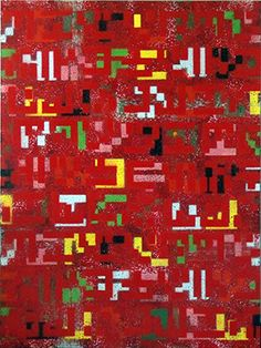 Sarah Teasdale - Pattern based painting, geometric artwork, contemporary paintings, hi tech, technology related art