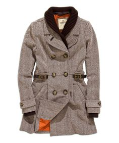 Cold Coffee Belted Wool-Blend Peacoat