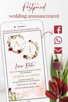 If your wedding has been postponed and need to inform your guests asap about the new wedding date check out our digital Change the date wedding cards. Share your digital Postponed wedding card via phone message, WhatsApp, email or social media.Pin This   Click Through to order yours! #savethedate #weddinginvitation #weddingstationary #weddinginvites #Burgundywedding #Postponedwedding