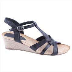 Sandale negre de dama 90063N - Reducere 42% - Pret 34.99 lei - Zibra Lei, Wedges, Shoes, Fashion, Moda, Zapatos, Shoes Outlet, Fashion Styles, Shoe