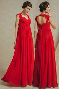 db141050fcb Robe de mariée rouge empire pour femme enceinte taille Empire - Persun.fr