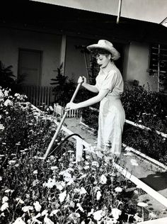 At home, Lucille Ball tended a lush, overflowing garden filled with flowers.